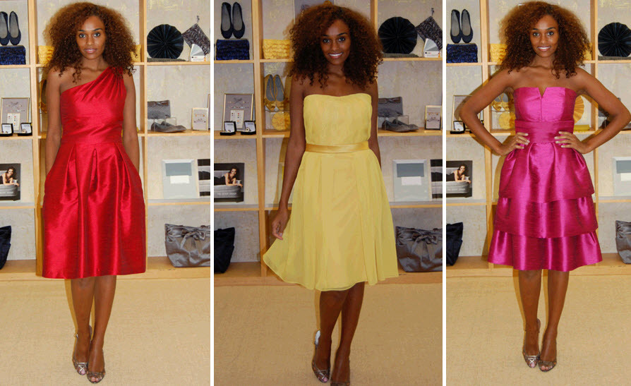 Knee-length-bridesmaids-dresses-2011-collection-red-yellow-pink-strapless-ruffles.full