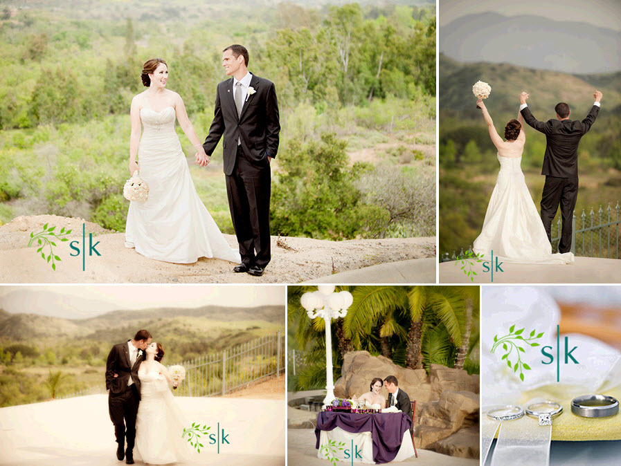Bride in white wedding dress, hand in hand with handsome groom in black tux; California rolling hill
