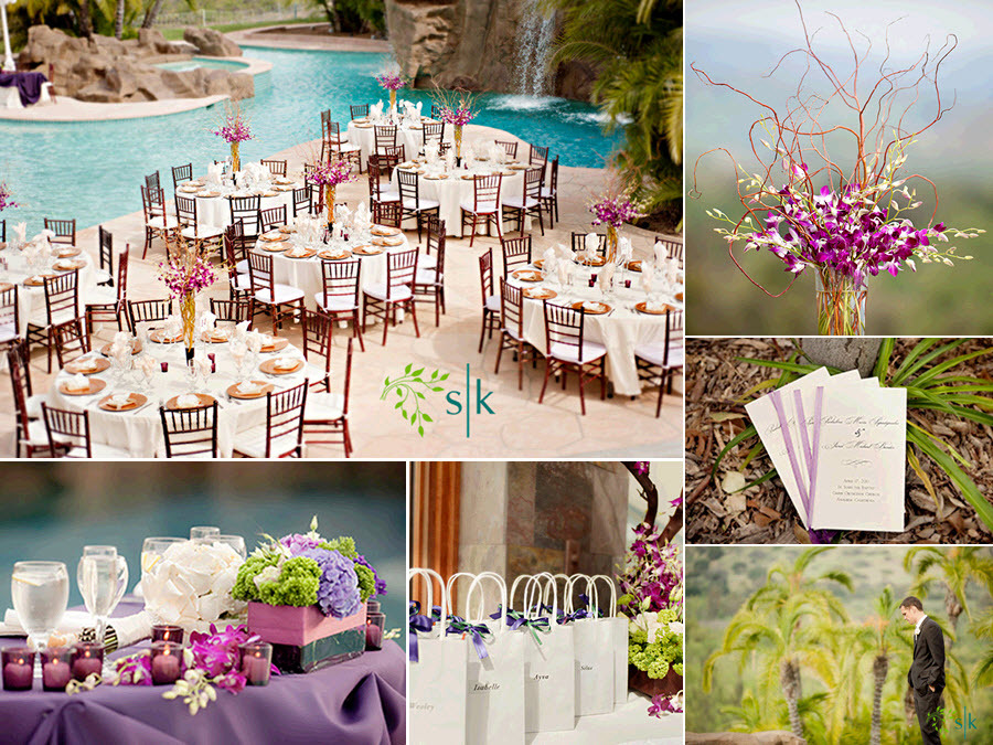 Wedding Reception Tables Arranged Poolside Gorgeous Purple Orchid High Table Centerpieces
