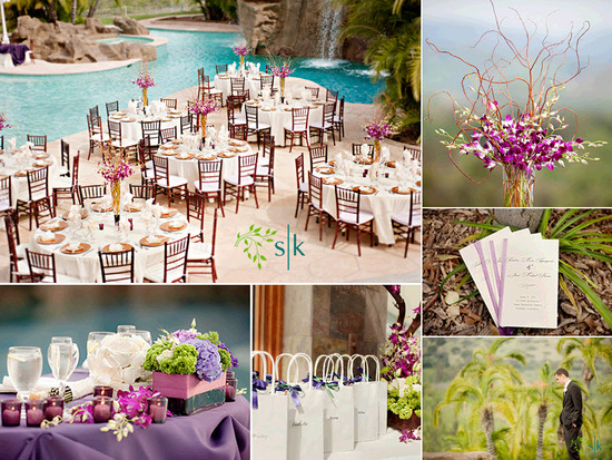Wedding reception tables arranged poolside; gorgeous purple orchid high table centerpieces