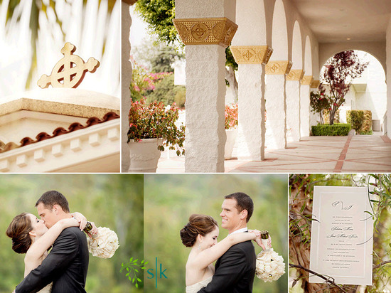 Gorgeous Greek Orthodox church for wedding ceremony; bride and groom pose with Orange County hills i