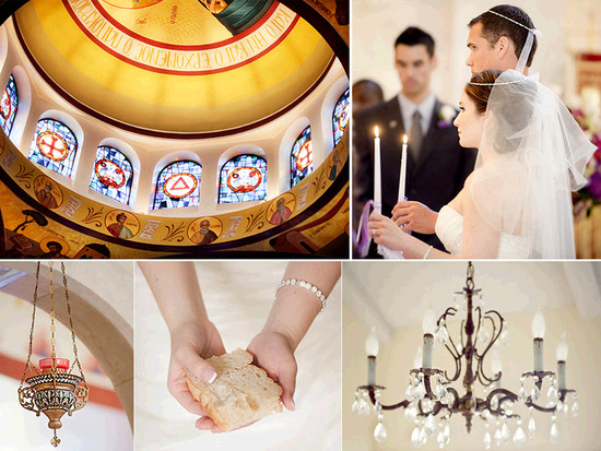 Traditional Greek Orthodox wedding ceremony- bride breaks bread, holds unity candles at alter with g