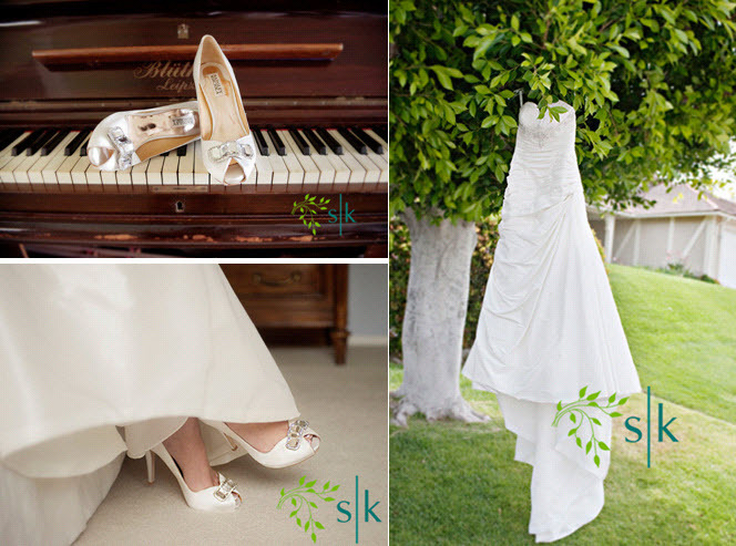 White-satin-peep-toe-bridal-heels-white-rhinestone-brooch-white-strapless-aline-wedding-dress-hangs-on-tree-outside.full