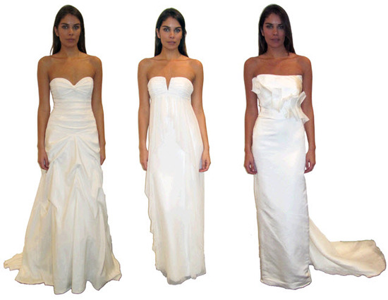 White strapless and sweetheart neckline Nicole Miller wedding dresses