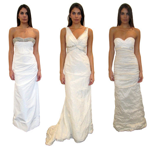 White Nicole Miller wedding dresses- crinkle fabric, modern column slihouette, sophisticated necklin