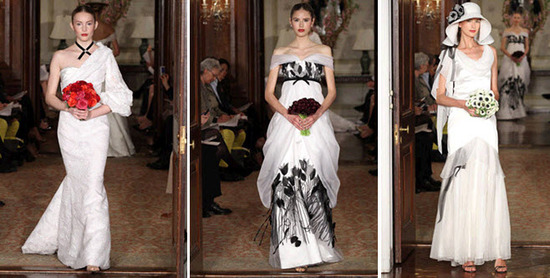White wedding dresses by Carolina Herrera- one with touches of black!
