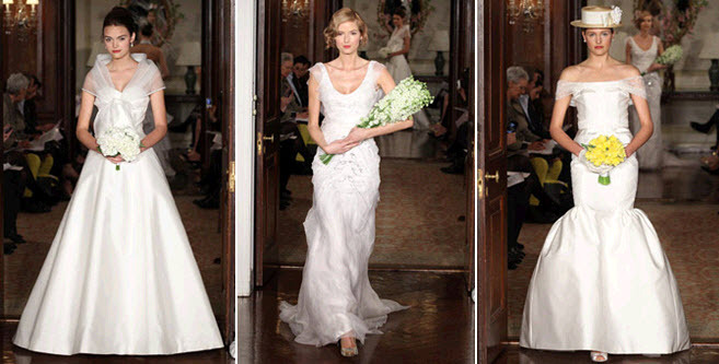 Classic white a-line, sheath, and trumpet wedding dresses from Carolina Herrera