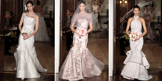 Spring 2011 wedding dresses by Carolina Herrera- asymmetric neckline, floral print, high neck with r