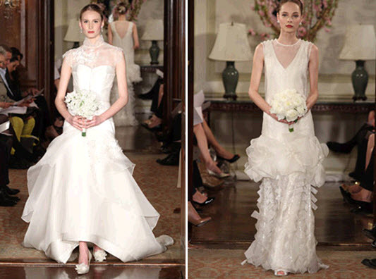 Ivory vintage chic Carolina Herrera wedding dress- sheath style and asymmetric one-shoulder looks