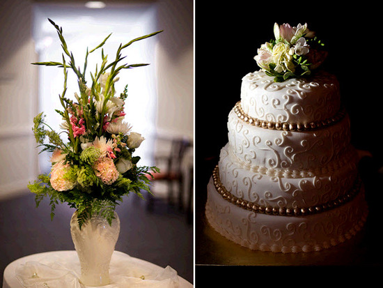 Gorgeous three tier ivory classic wedding cake high