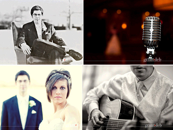 Groomsmen plays his guitar at wedding ceremony; vintage microphone for this musical couple