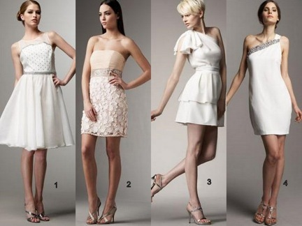 These four short dresses can be worn as casual wedding dresses or as fancy dresses any other day.
