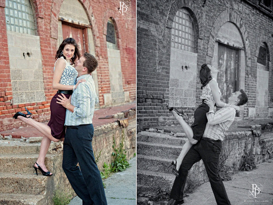 Groom lifts up beautiful bride-to-be during engagement session