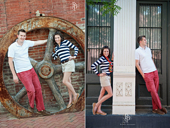 Bride and groom-to-be choose nautical outfits for one look of engagement session