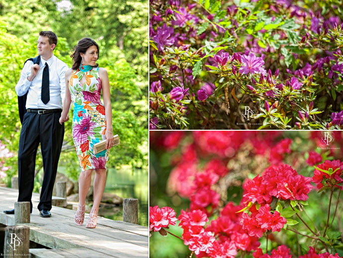 Bride-to-be's fashionable bold print dress is perfect with the backdrop of vibrant lush flowers and
