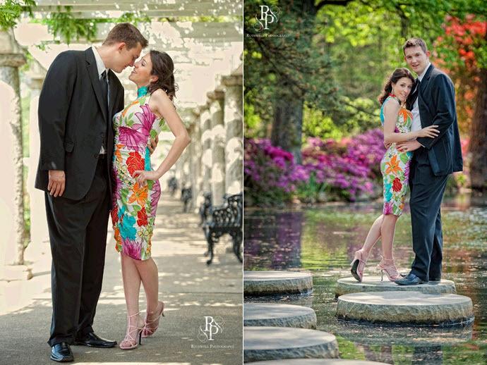 Fashion-engagement-session-pre-wedding-photos-colorful-cocktail-dress-groom-in-formal-suit.full