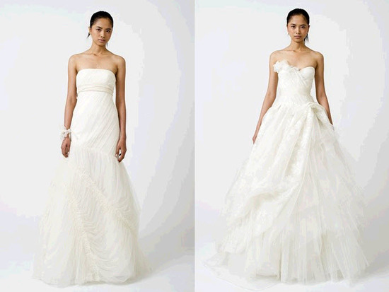 White classic strapless wedding dresses by Vera Wang