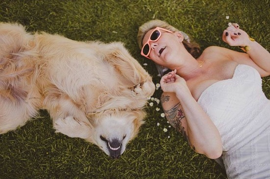 Cute Picture of a Bride and her Pup