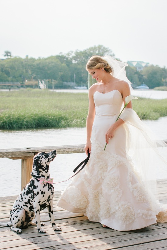 Romantic Bride poses with Pup