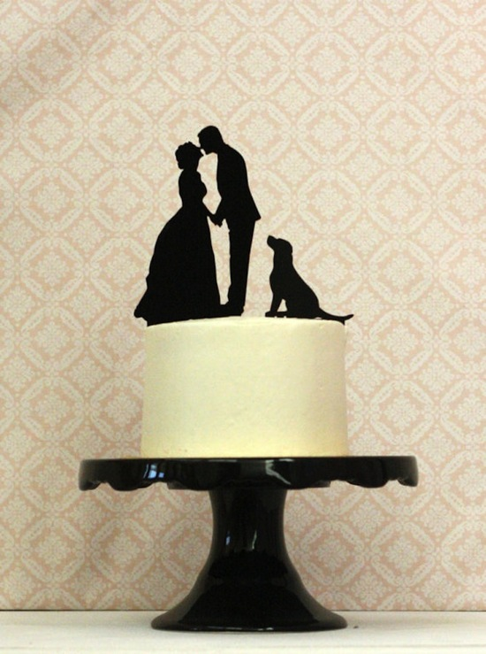 Wedding Cake Topper with Pup