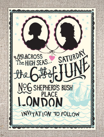 Hip and quirky high seas save-the-date wedding invitations with bride and groom silhouette and bold