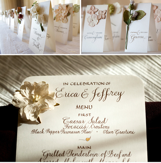 Place cards and menus