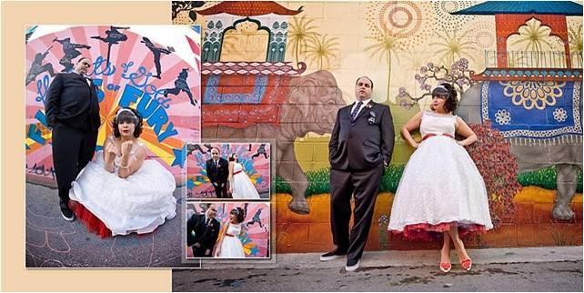 Retro-bride-groom-pose-in-front-of-vibrant-painted-mural-white-tea-length-wedding-dress.full