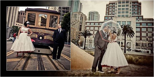Vintage wedding photos- retro bride and groom pose in downtown San Fran
