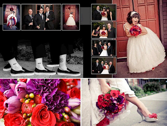 Awesome retro Valentines themed wedding details- red, purple bridal bouquet, Vivienne Westwood brida