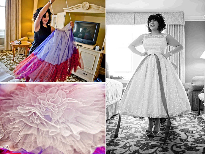 Retro bride gets ready- tea length full white wedding dress with vibrant colored petticoat