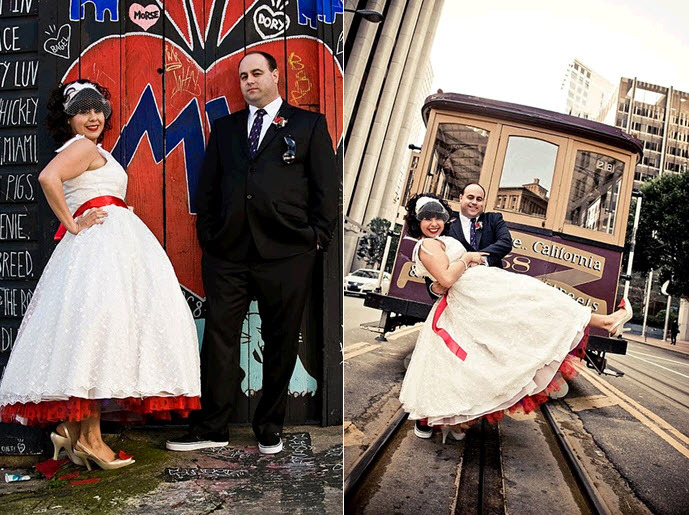 Retro bride and groom pose outside in downtown San Fran in full Valentines themed wedding day garb!