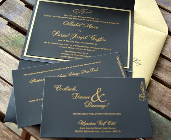 Black and Gold Letterpress Invitation