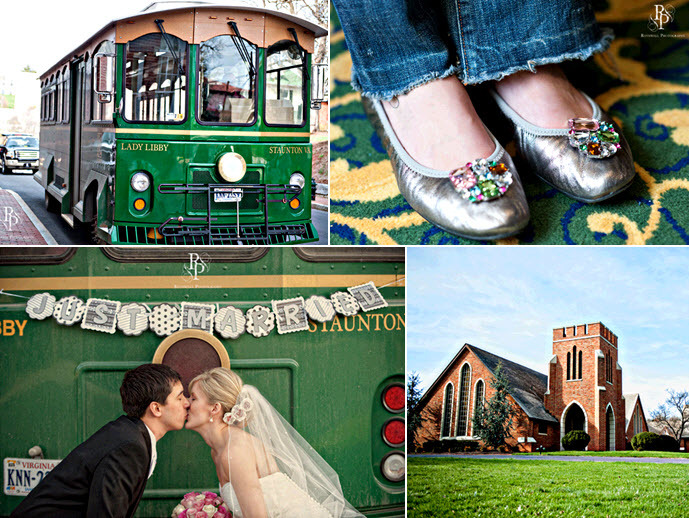Wedding-party-arrive-in-style-in-green-trolley-bride-groom-kiss-in-front-of-just-married-sign.full