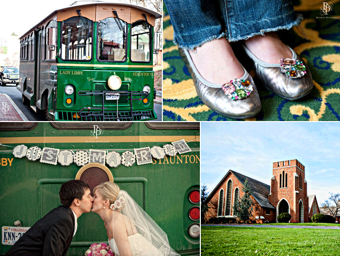Wedding-party-arrive-in-style-in-green-trolley-bride-groom-kiss-in-front-of-just-married-sign.original