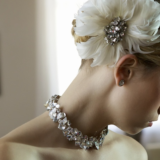 Chunky bridal statement necklace and ivory feather flower hair accent