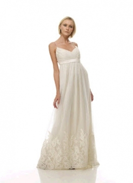 This beautiful white wedding dress is eco-friendly. It is made by the Cotton Bride and features a sa