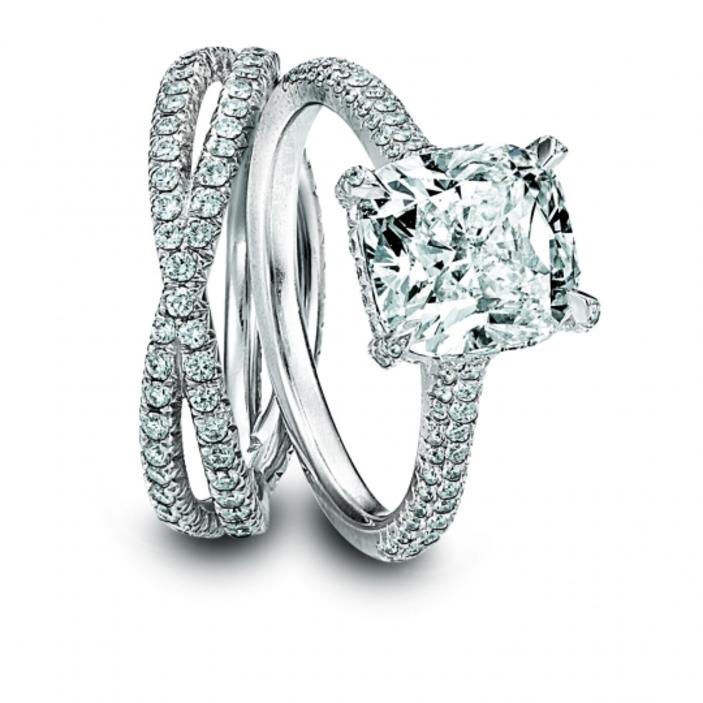 dazzling platinum and diamond engagement ring and wedding band set by kirk kara - Engagement Rings With Wedding Band Set