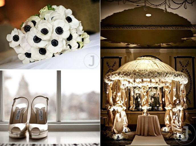 Chic-downtown-nyc-wedding-white-ivory-black-floral-bridal-bouquet-peep-toe-jimmy-choo-bridal-heels-ornate-chuppah.full