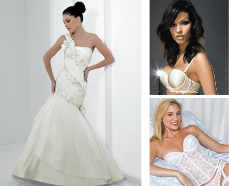 This asymmetrical white wedding dress is best matched with a strapless bra or a bustier.