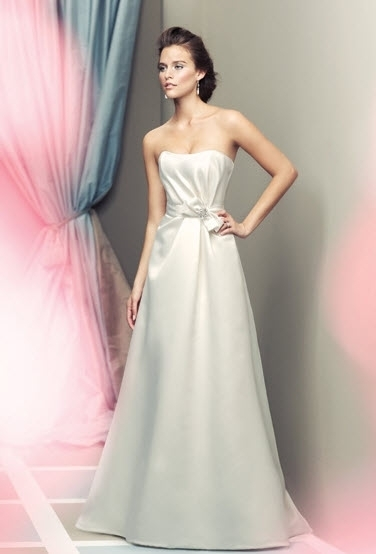 White-a-line-strapless-mikaella-wedding-dress-bow-at-natural-waist.full
