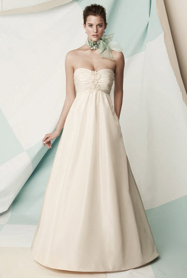 Empire-strapless-ivory-wedding-dress-gathered-at-bust-with-floral-applique-full-a-line.original