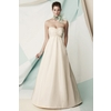 Empire-strapless-ivory-wedding-dress-gathered-at-bust-with-floral-applique-full-a-line.square