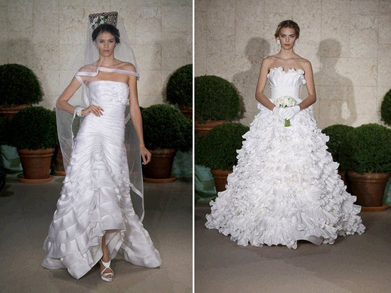 Stunning white wedding dresses with tiered ruffles by Oscar de la Renta