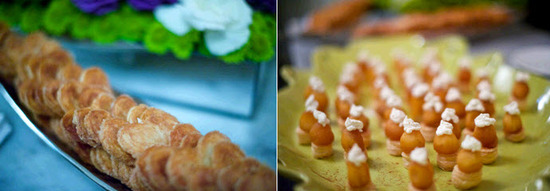 In addition to a classic wedding cake, couple chose to have tray passed pastries at their luxe downt