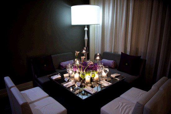 Intimate, loungy wedding reception setup- black, white, grey and deep purple color palette