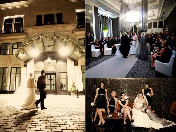 Winter-chicago-downtown-wedding-bride-groom-walk-into-wedding-reception-amsale-wedding-dress.full