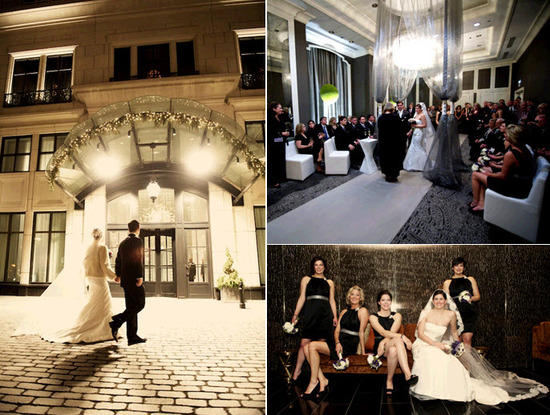 Winter wedding in Chicago- formal bride and groom walk into Elysian hotel for wedding reception