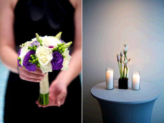 Luxe ivory, eggplant purple, and ivory bridesmaid bouquet; bridesmaids wear black Vera Wang dresses