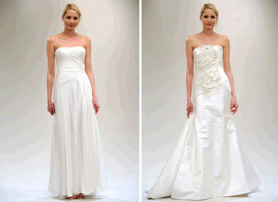 Simple and classic sheath style wedding dresses from Reem Acra's Spring 2011 line