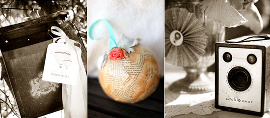 Vintage wedding details- a DIY ornament made from recycled newspapers